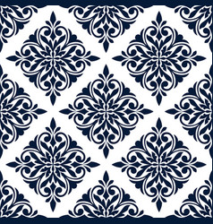 damask seamless pattern with blue floral ornament vector image vector image