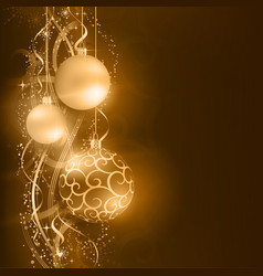Dark golden Christmas balls with wavy star vector