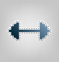 dumbbell weights sign blue icon with vector image