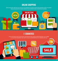 E-shopping horizontal banners vector