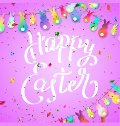 easter greeting card with hanging rabbit colorful vector image