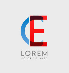 Ec logo letters with blue and red gradation vector