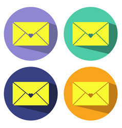 envelope mail icon with heart in flat style vector image