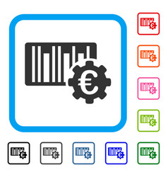 euro barcode setup framed icon vector image