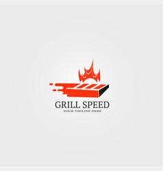 Fast grill bar logo template logo for restaurant vector