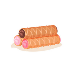 Flat icon of three waffle rolls with vector