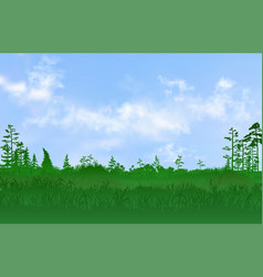 Flat plain with grass and few trees on it and vector