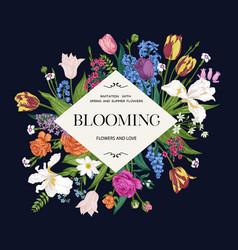 flower frame blooming garden vector image