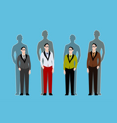 four young guys and their shadows behind them vector image