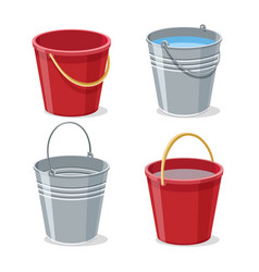 full and empty gardening buckets vector image