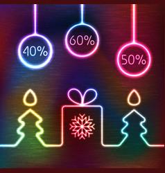 Glowing icon gift box christmas fir tree vector