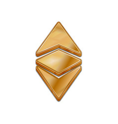 golden ethereum classic 3d style icon vector image