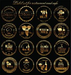 golden grunge label set for restaurant and cafe vector image