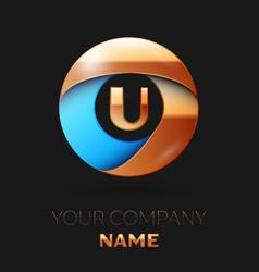golden letter u logo symbol in golden-blue circle vector image