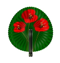 green fan with red flowers vector image