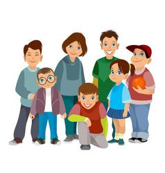 Group smiling children vector