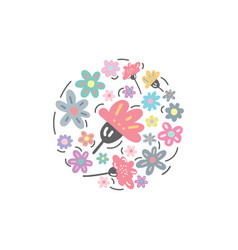 hand drawn floral logotype with flowers vector image