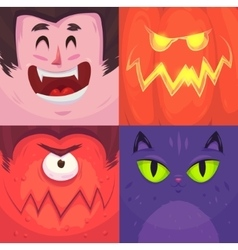 happy halloween of halloween characters vector image