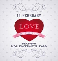 Happy Valentines day retro card love vector image