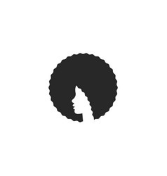 head african american girl with afro logo vector image