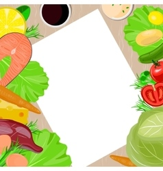 Healthy food and paper blank template vector