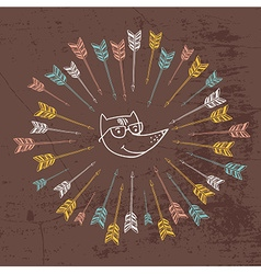Hipster logo with arrows colorful design use vector