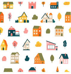 house pattern cute tiny town houses seamless vector image