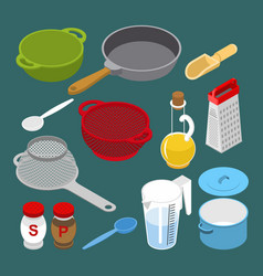 Ingredients and utensils set isometry grater and vector