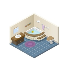 Isometric modern bathroom set of bath furniture vector