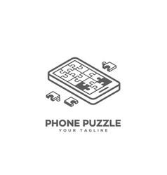 isometric puzzle phone logo vector image