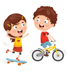 Kids skateboarding and cycling vector