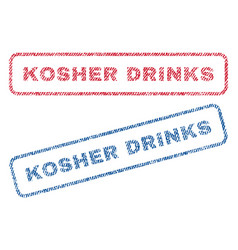 Kosher drinks textile stamps vector