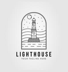 Line art lighthouse beacon logo design lighthouse vector