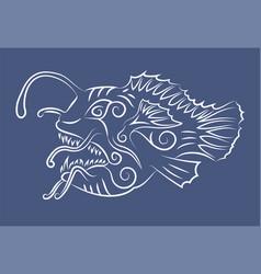 Line art with white hand drawn anglerfish vector