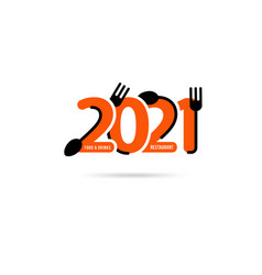 Logo fork and spoon with 2021 new year creative vector