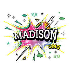 madison comic text in pop art style isolated on vector image