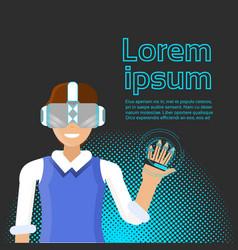 man wearing virtual reality headset using digital vector image