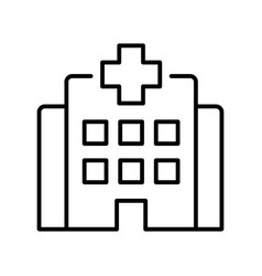 monochrome clinic building with cross icon vector image