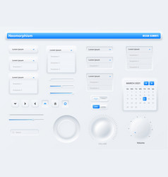 neumorphic ui user interface buttons search bars vector image
