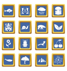Oil industry items icons set blue vector