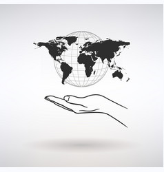 open palm with world map vector image