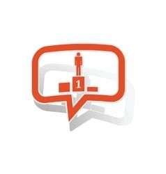 Pedestal message sticker orange vector