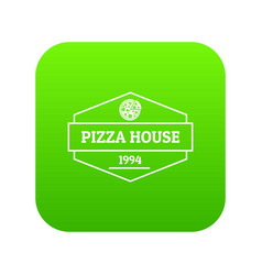 pizza house icon green vector image