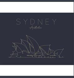 Poster sydney opera house dark vector
