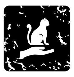 Protecting cat icon grunge style vector image