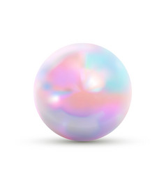 realistic glossy marble ball with rainbow glare on vector image