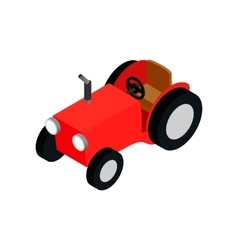 Red farmers car isometric 3d icon vector