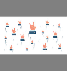 rock n roll hand sign flying businessman vector image
