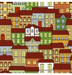 Seamless old town cityscape pattern background vector image