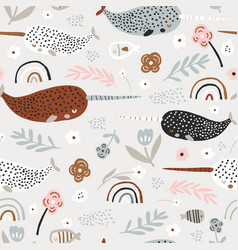 seamless pattern with abstract narwals rainbows vector image